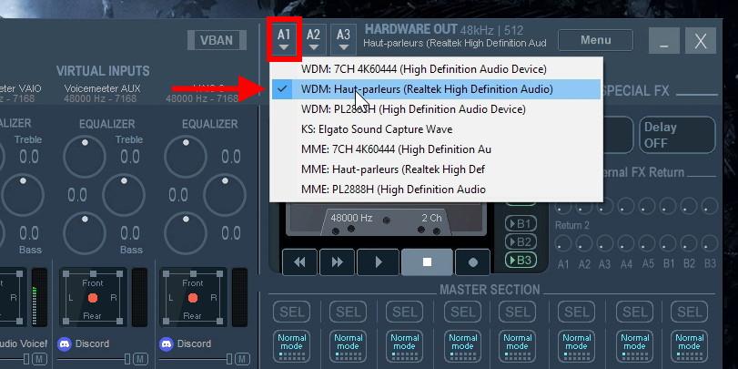 sortie A1 voicemeeter